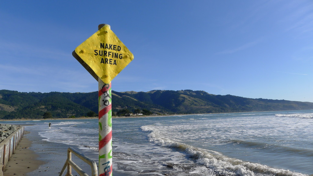 """The sign welcoming you to """"The Channel"""" surf break."""