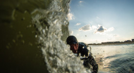 Author Shawn Zappo surfing his home break in New Jersey. Photo: Christor Lukasiewicz