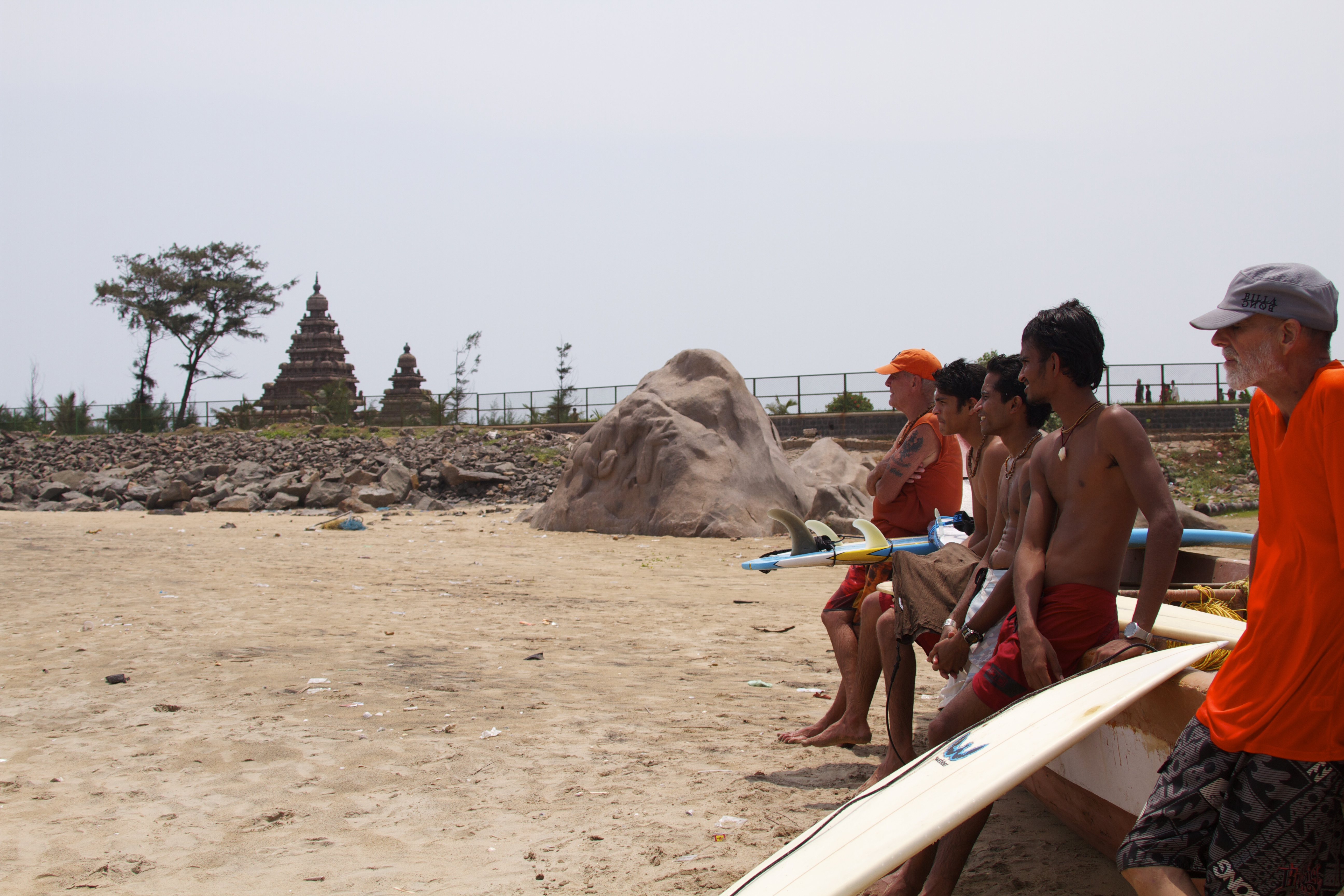 Members of Mantra Surf Club checking the waves. Photo: Rammohan Paranjape