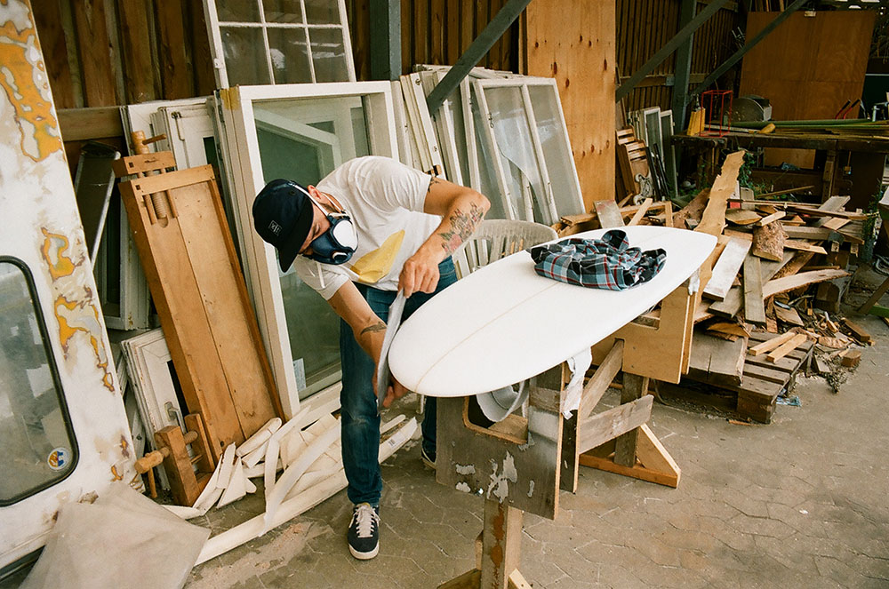 "Mathias Rosendal shaping his 5'2"" quad. Photo: Simon Rosendal"