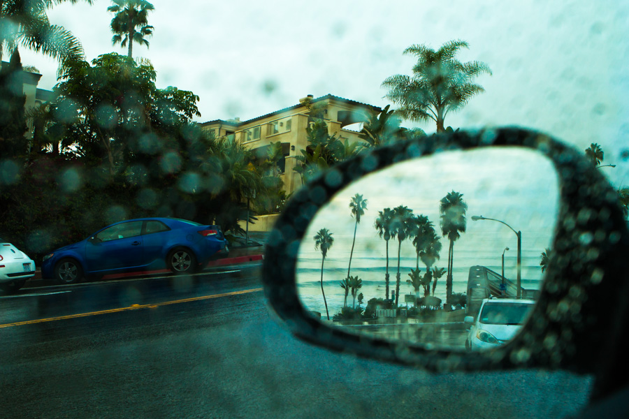 A rare rainy morning overlooking T-Street in San Clemente.