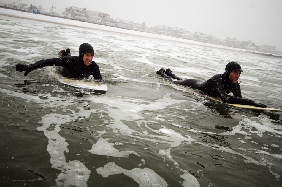 Phil Browne and Shawn Zappo enjoying some wintery paddle on Lovelace Surf Craft. Photo: Christor Lukasiewicz