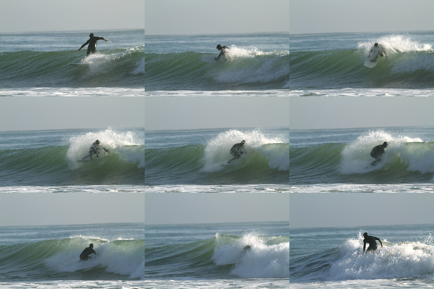 "Jesse Faen riding a 5'4"" Double Rainbow MK3. The board has a deep swallowtail with mini fins. Photo: M.Caro"