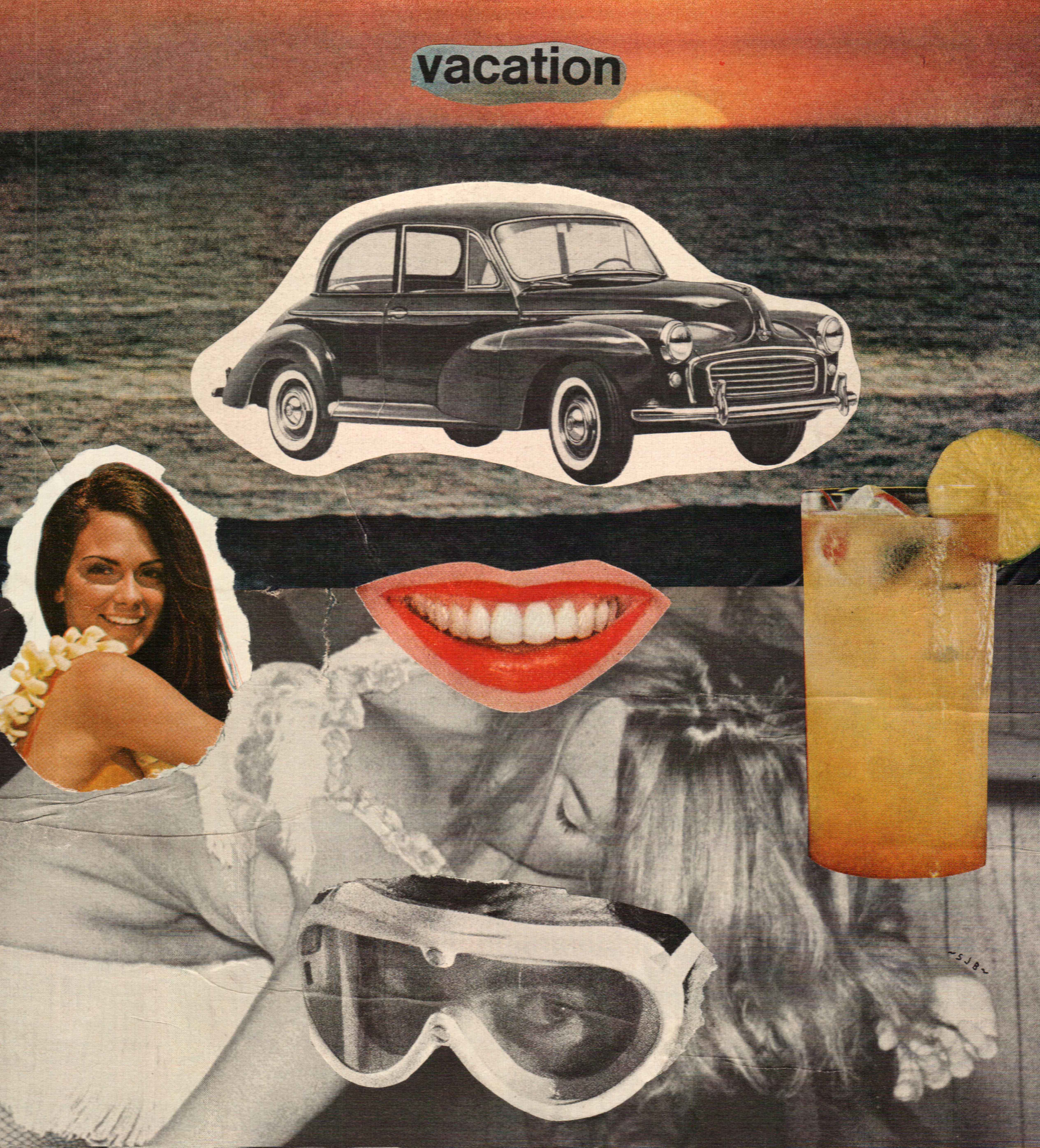 """""""PERMANENT VACATION"""" - Paper collage on canvas. 2013."""