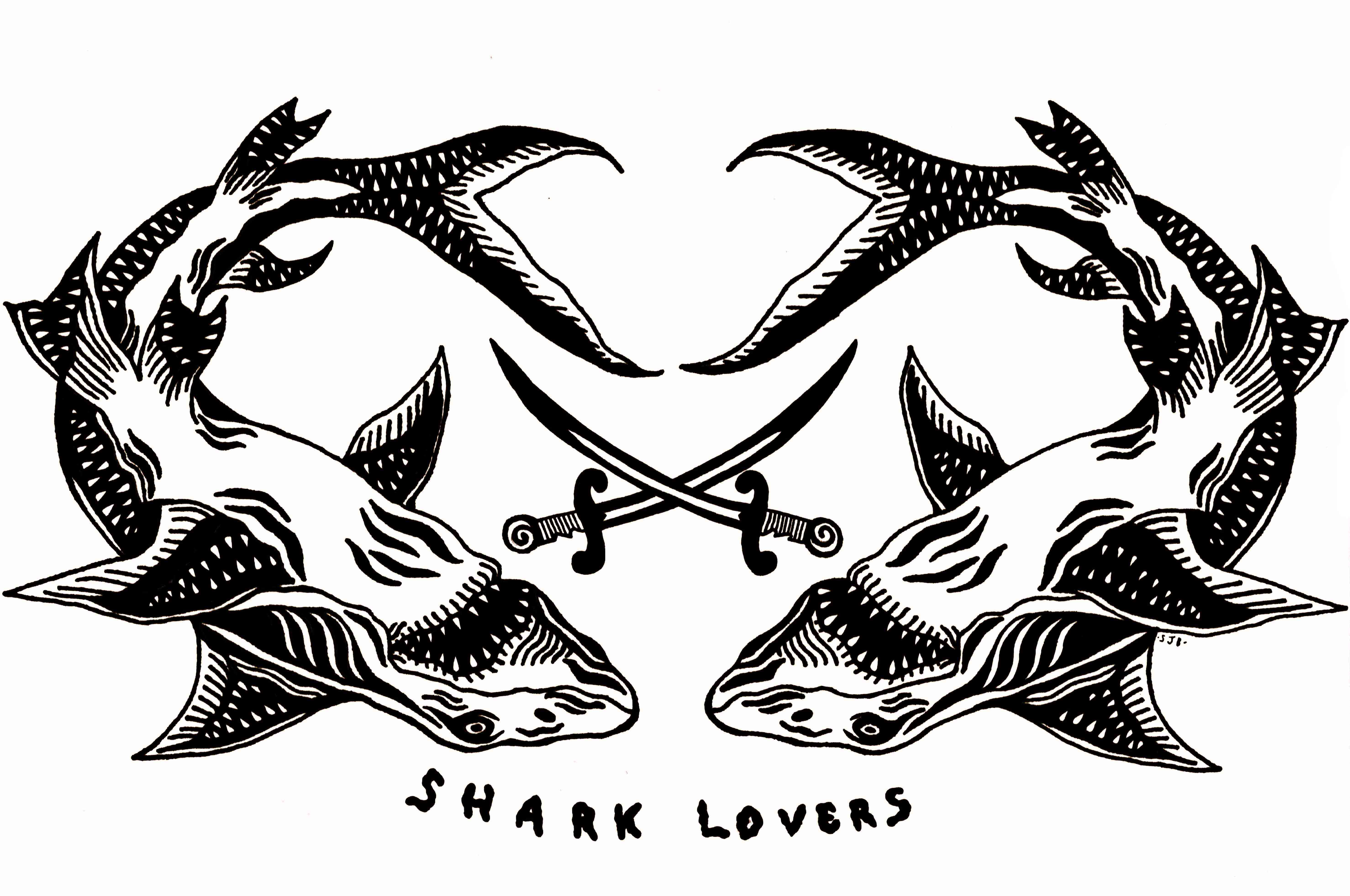 Shark Lovers. Sharpie, pen and ink on paper. 2014.