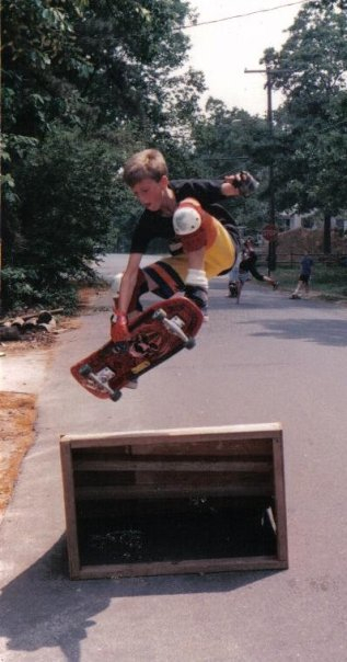 A tweaked frontside grab of my sketchy launch ramp. 1987. Photo: Peter Zappo