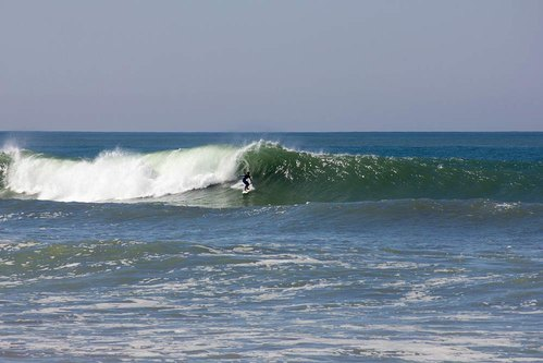 Ventura Beach Break big and woolly.  One unknown charger was up for the challenge.  Photo: Mike Astede